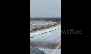 Nebraska flooding: bridge washes away in severe flooding