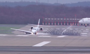Watch as Cessna plane rocks from side to side and wing nearly touches runway in extreme 120km/hr crosswinds