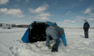 How to Get Wet While Ice Fishing in One Step