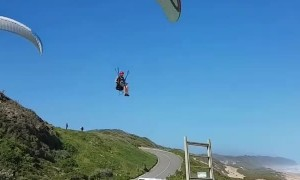 Paraglider Performs Precise Landing