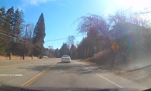 Car Barely Avoids Head On Collision by Inches