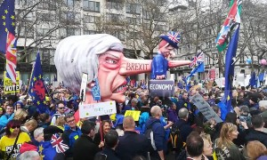 Theresa's May with the huge nose float join the People's Vote protest in London, 2019