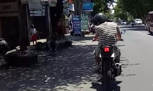 Starling Hitches a Ride on Motorcycle