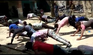 Indian bikers forced to do push-ups as punishment for breaking traffic rules