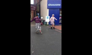 Bust a move! Dancing grannies entertain crowd of shoppers in Nottingham