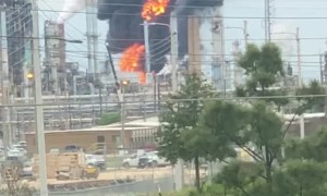 Refinery Fire Fills Sky with Smoke