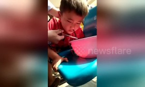 Stomach-churning moment leech is pulled from boy's nose in Thailand
