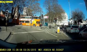 UK cyclist 'clearly shaking' after nearly being taken down by careless driver