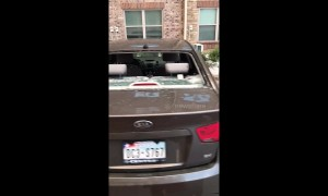 Vicious hail storm in Texas smashes through car windshields