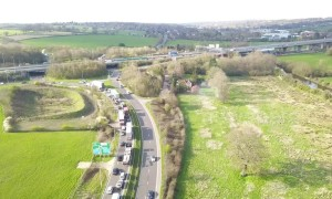 Drone footage of M25 closed following serious crash