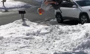 Skier Back Flips in the Front Yard