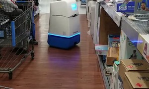Big Box Store Robot Roams the Aisle