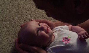 Baby girl has emotional reaction to dad's singing