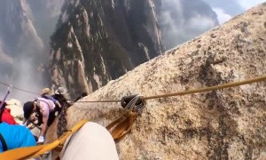 Hiker captures footage of insane cliffside walk