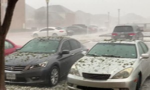 Hail Storm Pelts and Pounds Vehicles