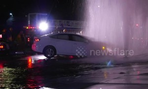 Los Angeles diver crashes into fire hydrant