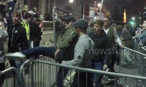 March To Leave protestor hit in the face by a shaking fence