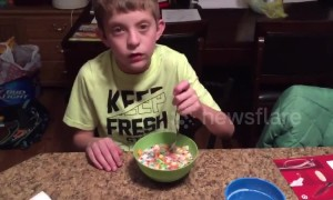 Mom starts April Fool's day with prank cereal for her son's breakfast