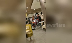 Drive through McDonald's anyone? Dutch man rides motorbike through fast-food restaurant