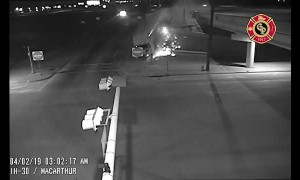 Tense milk truck crash caught on traffic cam