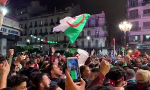 Algerians celebrate after president Abdelaziz Bouteflika resigns