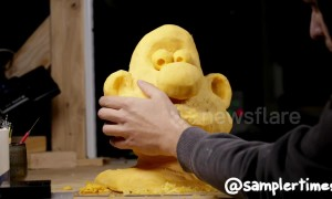 Wallace emerges from 40lb block of cheese in amazing animation