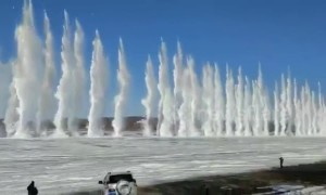 Dramatic detonation of river ice in China's Heilongjiang to prevent flooding