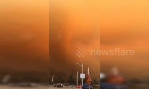 Dramatic fire breaks out on mountainside in China's Hebei