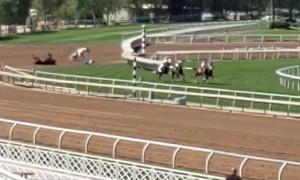 Horses Tumble at the Turn