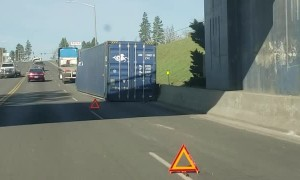 Truck Driver Loses His Load