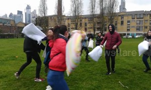 Londoners do battle at International Pillow Fight Day 2019