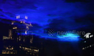 Projection of the Northern Lights created over Tower of London