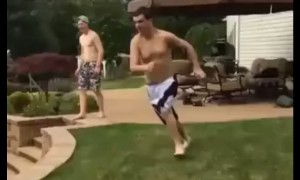 Pool jump attempt leads to painful landing