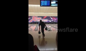 Man makes awesome 'double-ball' bowling strike in Luxembourg