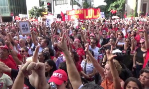 Thousands gather in support of imprisoned former Brazilian president Lula da Silva