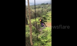 US woman rescued from zip line in Hawaii