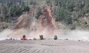 Forested hillside melts away during landslide in north India