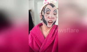 "Woman has hilarious reaction when she discovers she wears a ""Malicious"" facial mask"
