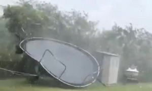 Powerful Storm Picks Up Trampoline