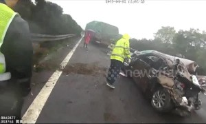 Car nearly flattened after overtaking and changing lane in front of semi-truck