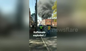 Ground shot shows smoke from fatal gas explosion in North Carolina