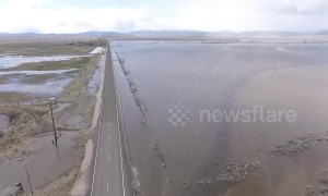 Aerial footage exposes drowned Oregon farmland lost in flooding