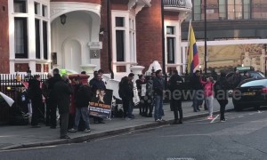 Assange supporters gather outside Ecuador Embassy after his arrest