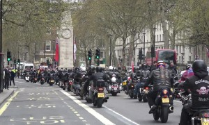 Cenotaph used as a 'bike park' as thousands of motorcycles rally in London