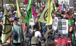 Climate change protesters block traffic in central London's Marble Arch