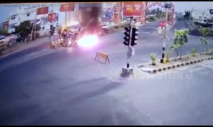 Security cam films terrifying moment truck catches fire in central India