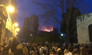 Crowd Sings Ave Maria as Notre Dame Burns