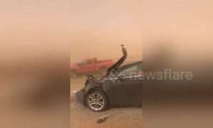 Dust storm in Texas causes havoc on the highway