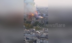 New footage emerges of collapse of Notre Dame spire
