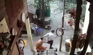 Buddhist monk caught on CCTV repeatedly beating disabled man in Thailand